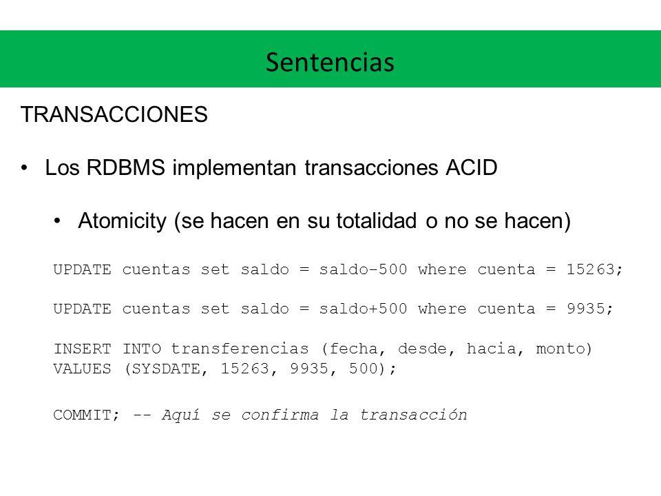 Sentencias TRANSACCIONES Los RDBMS implementan transacciones ACID