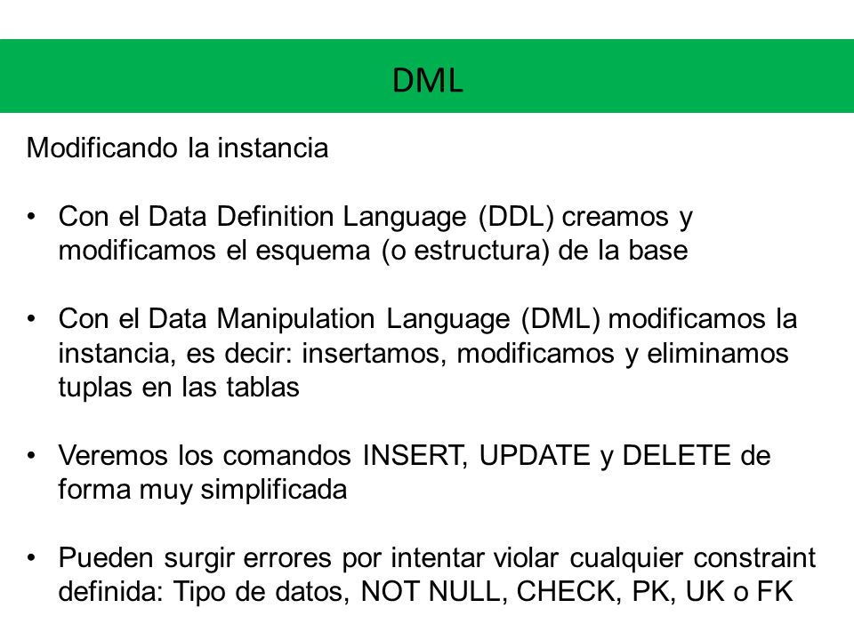 DML Modificando la instancia