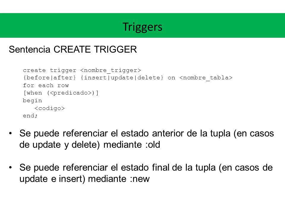 Triggers Sentencia CREATE TRIGGER