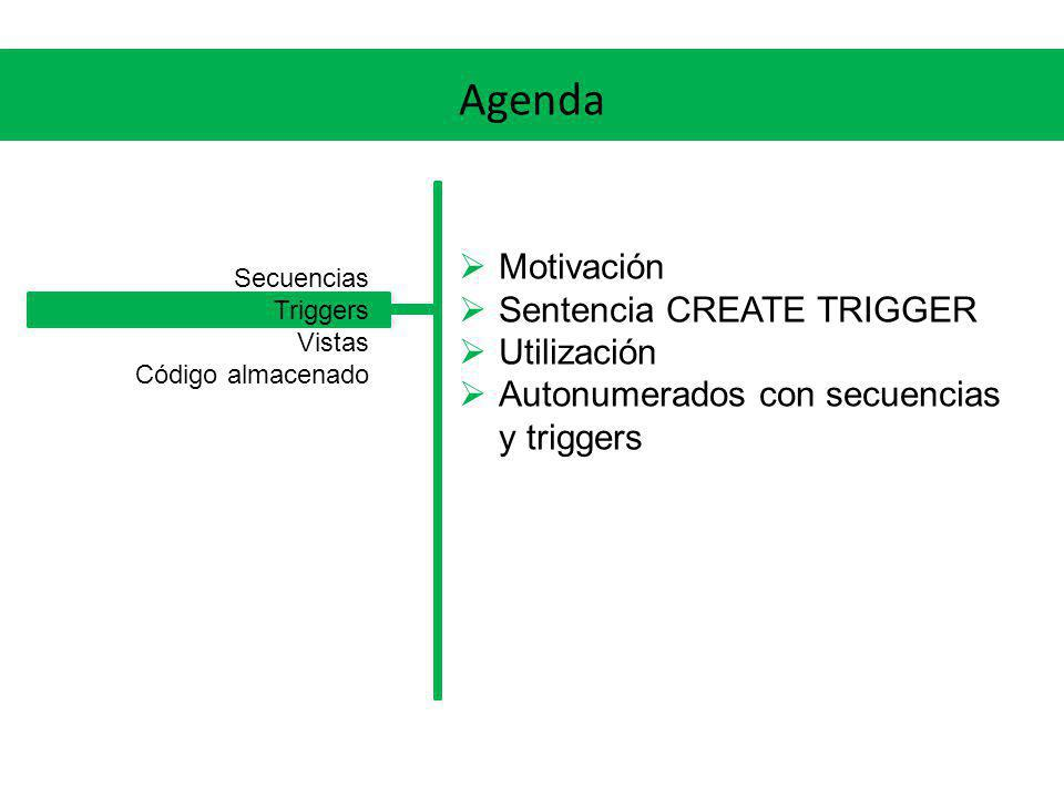Agenda Motivación Sentencia CREATE TRIGGER Utilización