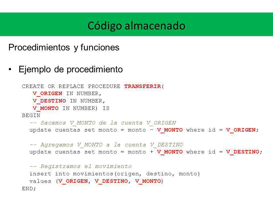 Código almacenado Procedimientos y funciones Ejemplo de procedimiento