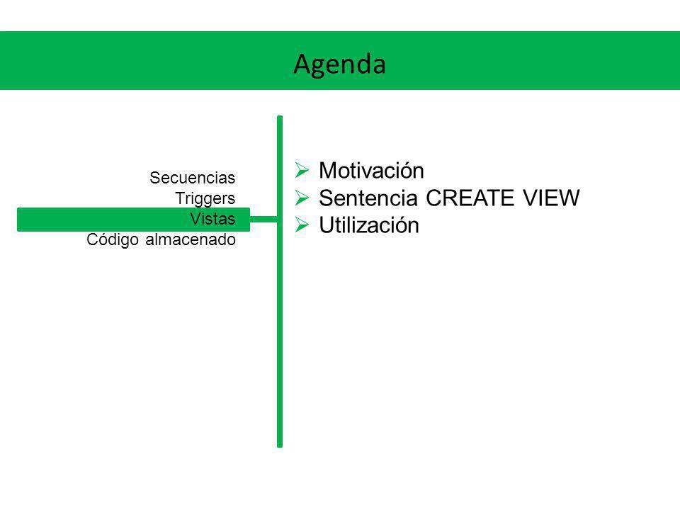 Agenda Motivación Sentencia CREATE VIEW Utilización Secuencias