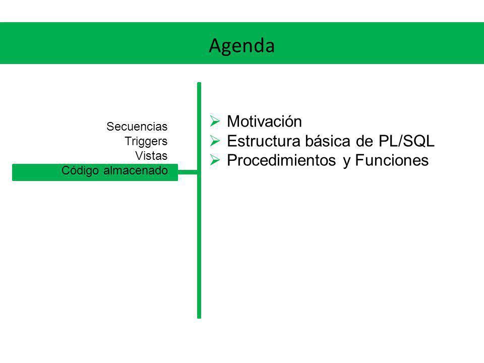 Agenda Motivación Estructura básica de PL/SQL