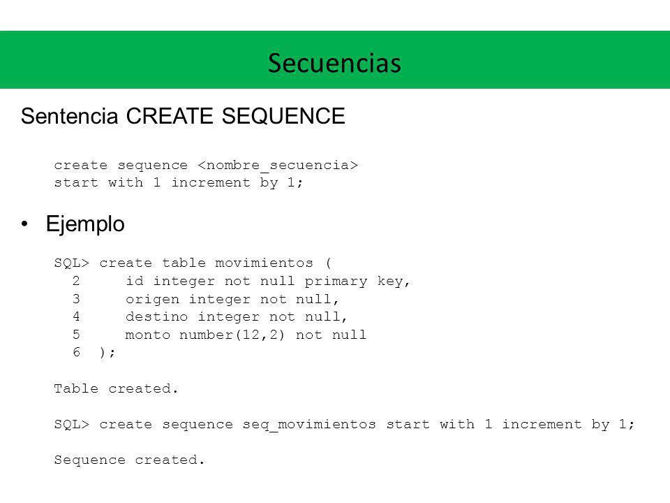 Secuencias Sentencia CREATE SEQUENCE Ejemplo