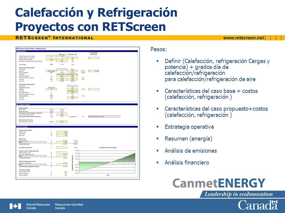 Calefacción y Refrigeración Proyectos con RETScreen