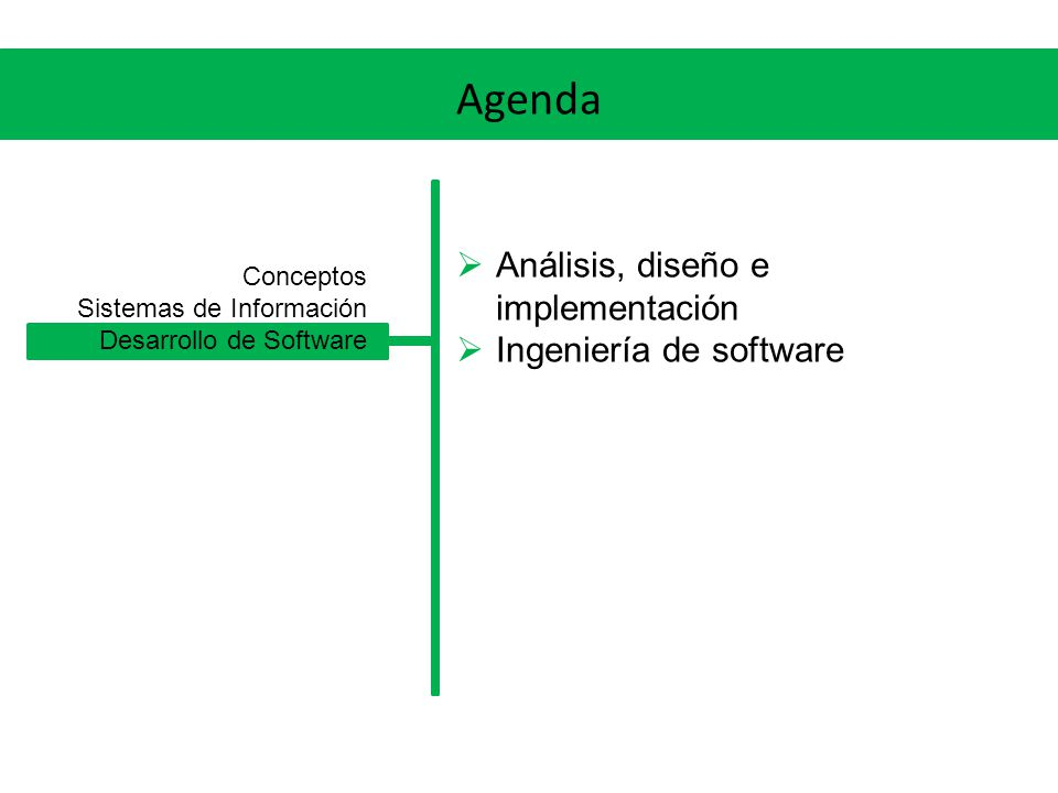 Agenda Análisis, diseño e implementación Ingeniería de software
