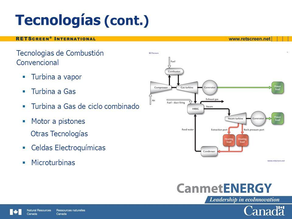 Tecnologías (cont.) Tecnologias de Combustión Convencional