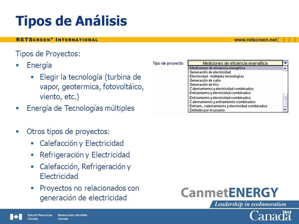 Tipos de Análisis Tipos de Proyectos: Energía