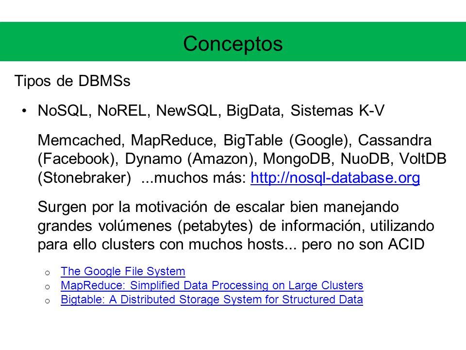 Conceptos Tipos de DBMSs NoSQL, NoREL, NewSQL, BigData, Sistemas K-V