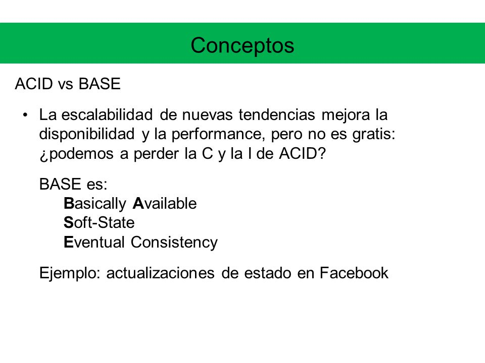 Conceptos ACID vs BASE.