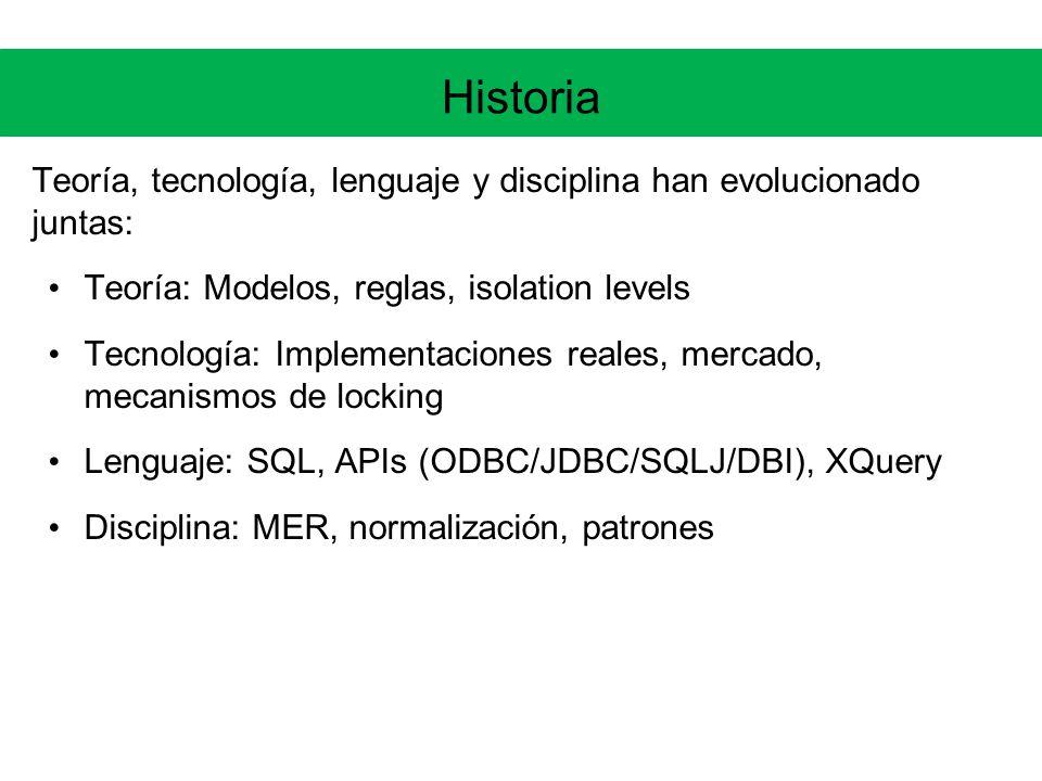 Historia Teoría, tecnología, lenguaje y disciplina han evolucionado juntas: Teoría: Modelos, reglas, isolation levels.