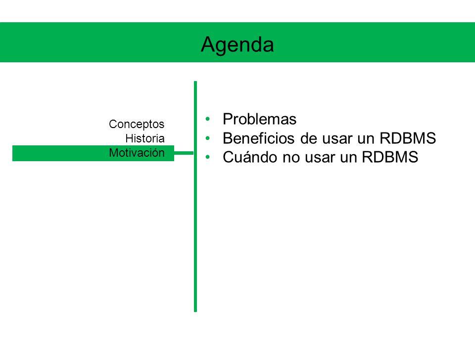 Agenda Problemas Beneficios de usar un RDBMS Cuándo no usar un RDBMS