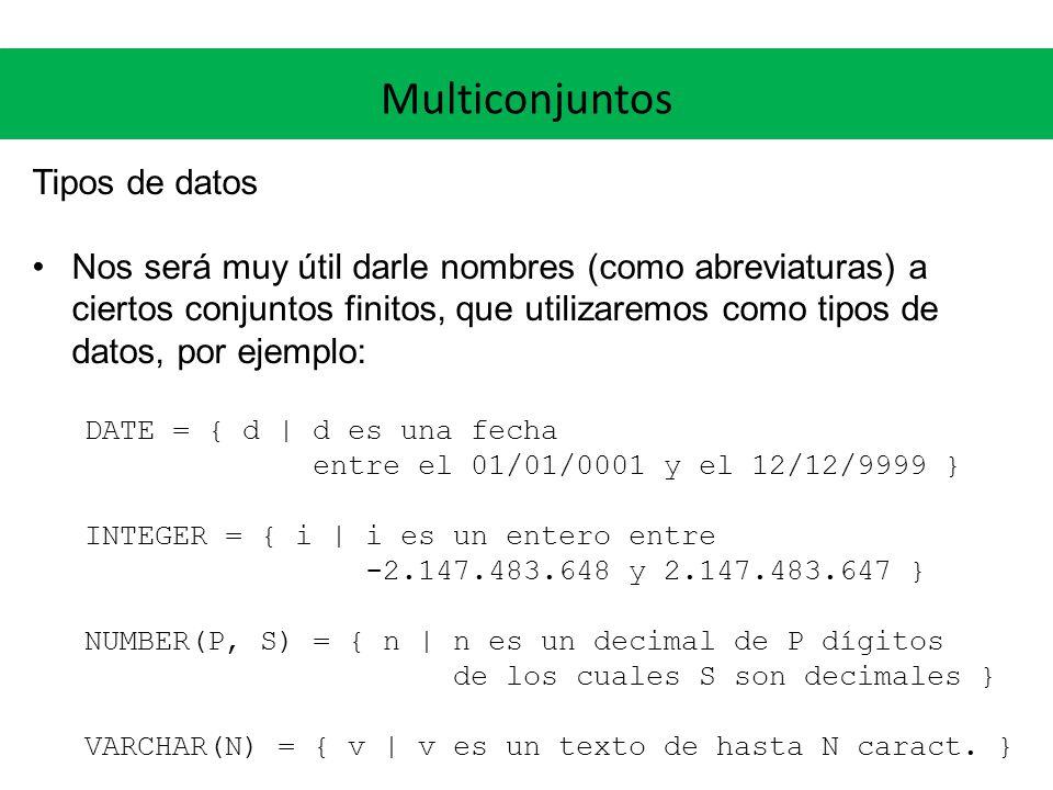 Multiconjuntos Tipos de datos