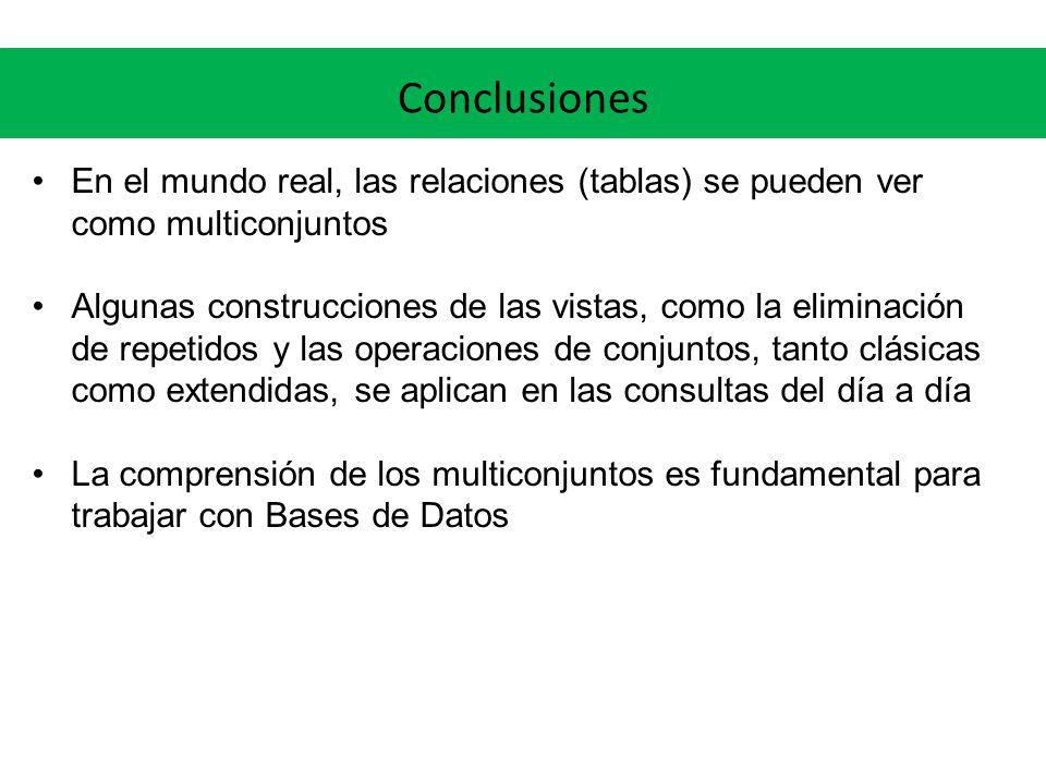 Conclusiones En el mundo real, las relaciones (tablas) se pueden ver como multiconjuntos.