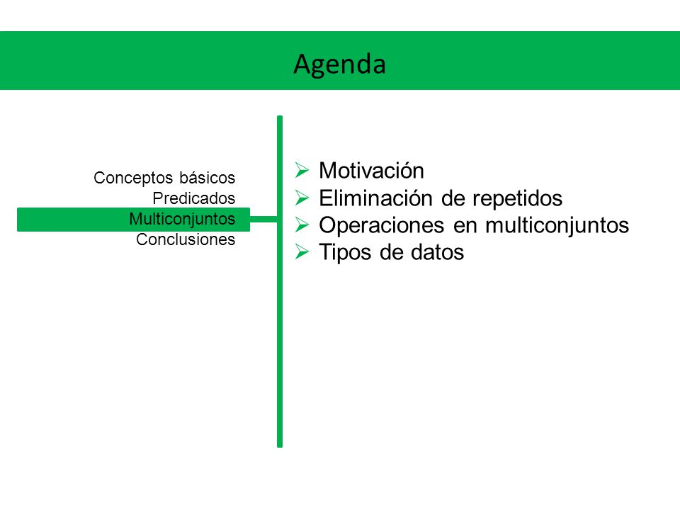 Agenda Motivación Eliminación de repetidos