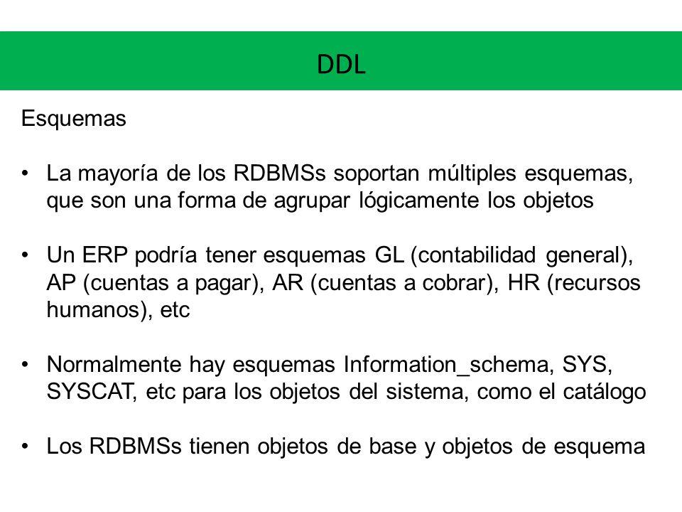 DDL Esquemas. La mayoría de los RDBMSs soportan múltiples esquemas, que son una forma de agrupar lógicamente los objetos.