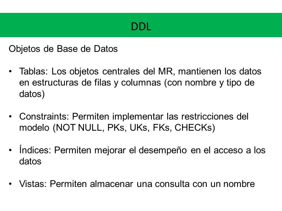 DDL Objetos de Base de Datos