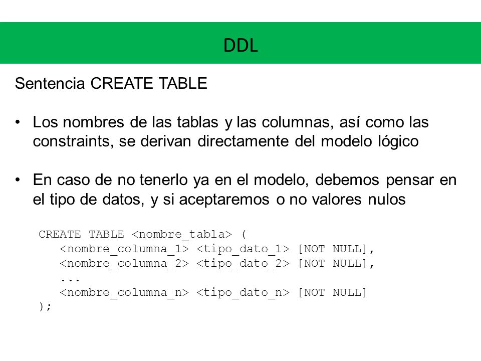 DDL Sentencia CREATE TABLE