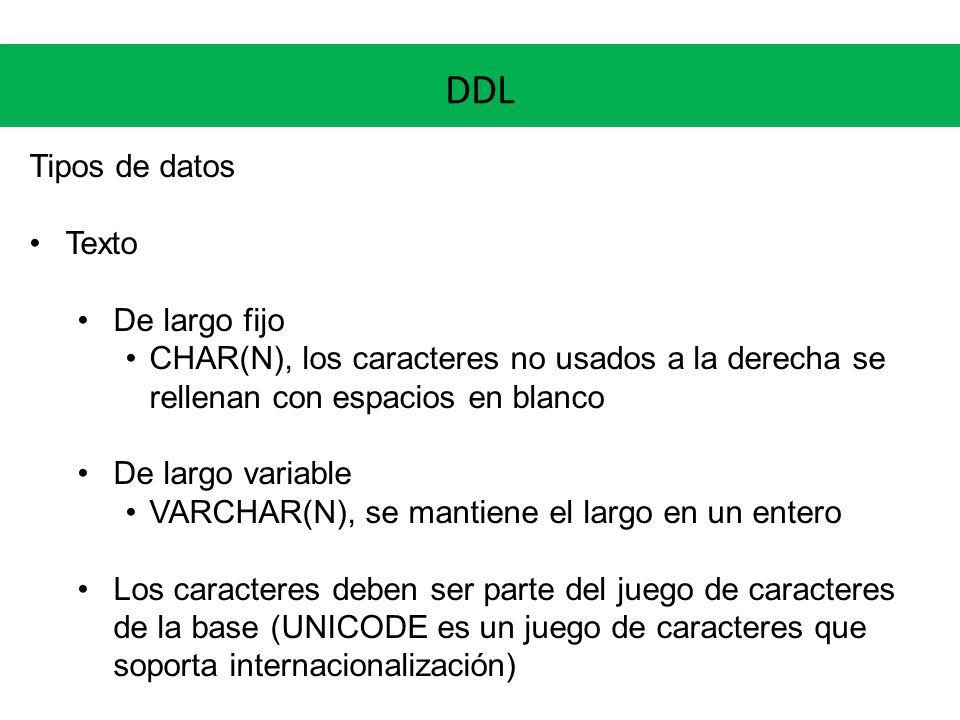 DDL Tipos de datos Texto De largo fijo