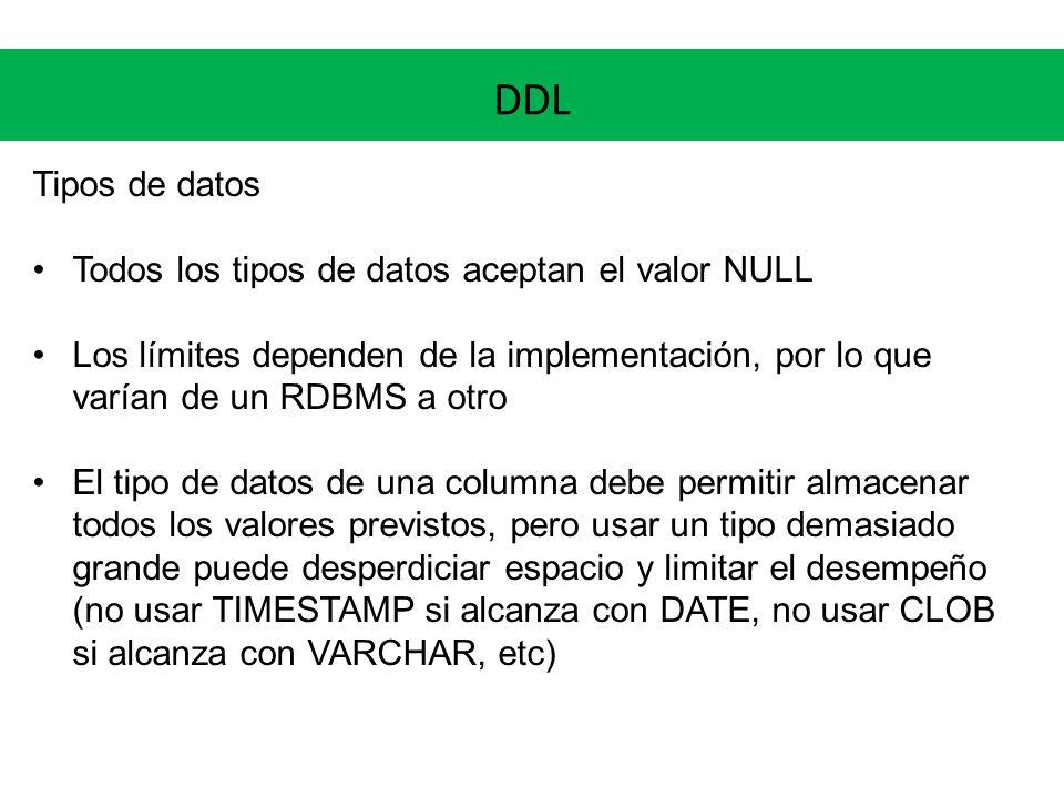 DDL Tipos de datos Todos los tipos de datos aceptan el valor NULL