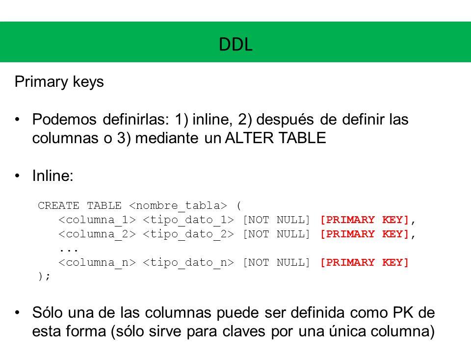 DDL Primary keys. Podemos definirlas: 1) inline, 2) después de definir las columnas o 3) mediante un ALTER TABLE.