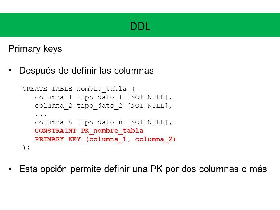 DDL Primary keys Después de definir las columnas