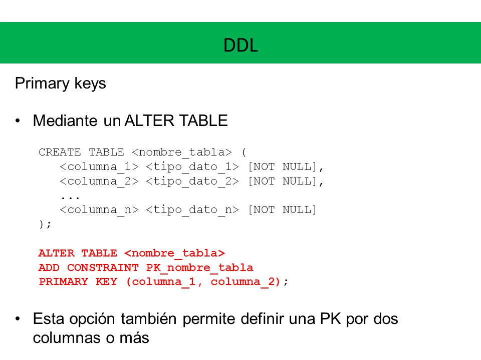 DDL Primary keys Mediante un ALTER TABLE