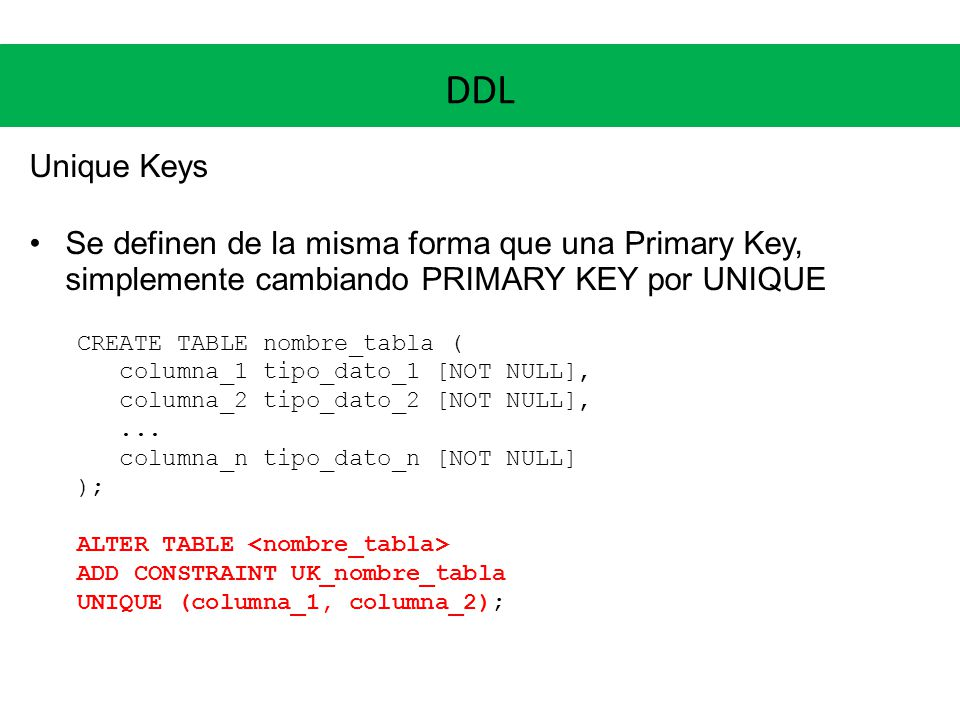 Maestr a en bioinform tica bases de datos y sistemas de - Alter table add constraint primary key ...