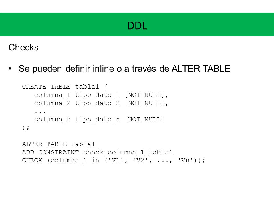 DDL Checks Se pueden definir inline o a través de ALTER TABLE