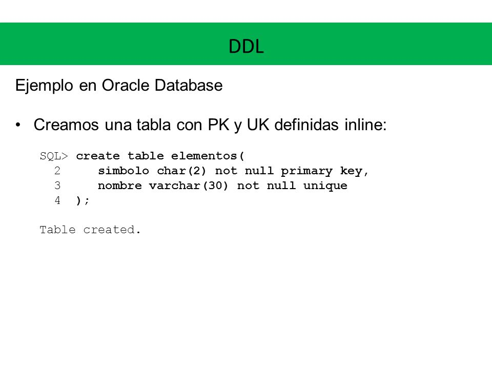 DDL Ejemplo en Oracle Database