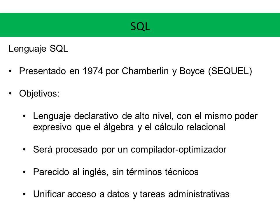 SQL Lenguaje SQL Presentado en 1974 por Chamberlin y Boyce (SEQUEL)