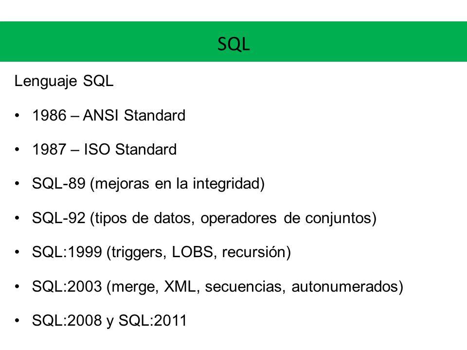 SQL Lenguaje SQL 1986 – ANSI Standard 1987 – ISO Standard