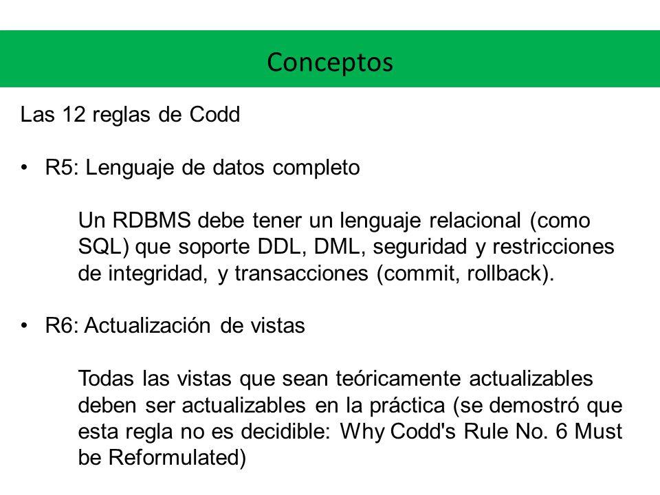 Conceptos Las 12 reglas de Codd R5: Lenguaje de datos completo