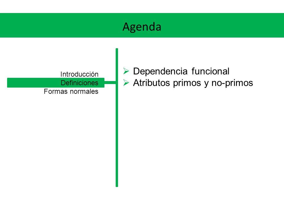 Agenda Dependencia funcional Atributos primos y no-primos Introducción