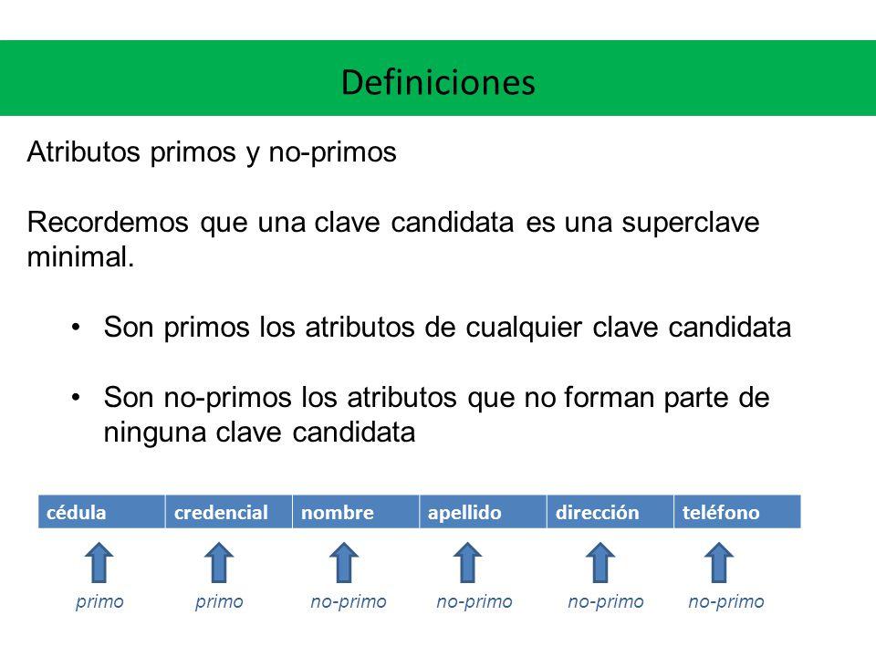Definiciones Atributos primos y no-primos