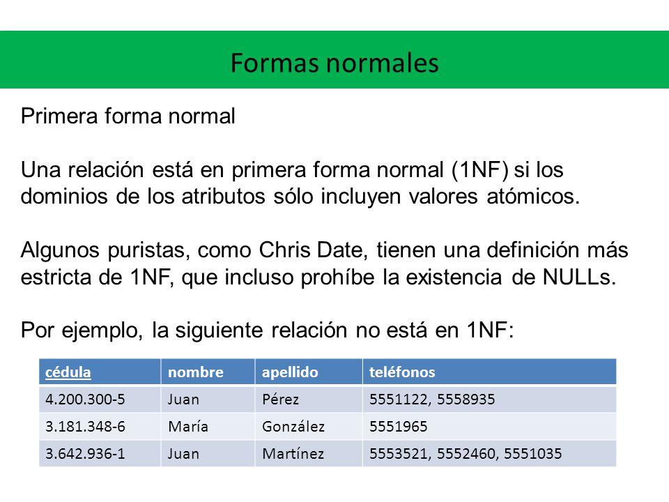 Formas normales Primera forma normal