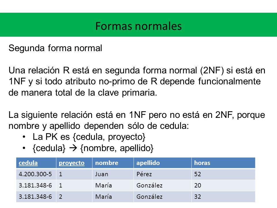 Formas normales Segunda forma normal