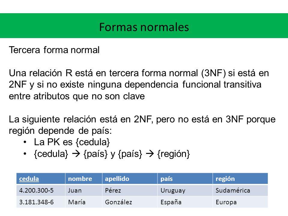 Formas normales Tercera forma normal