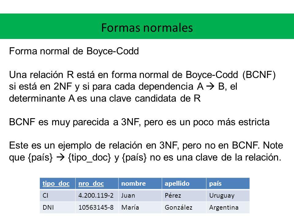 Formas normales Forma normal de Boyce-Codd