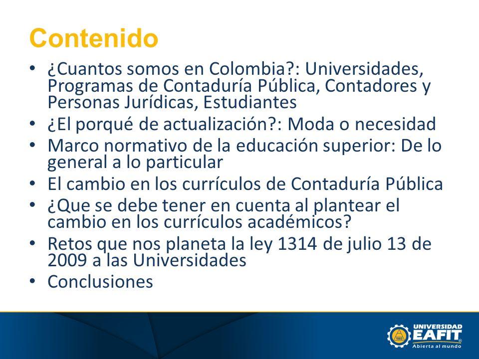 Contenido ¿Cuantos somos en Colombia : Universidades, Programas de Contaduría Pública, Contadores y Personas Jurídicas, Estudiantes.
