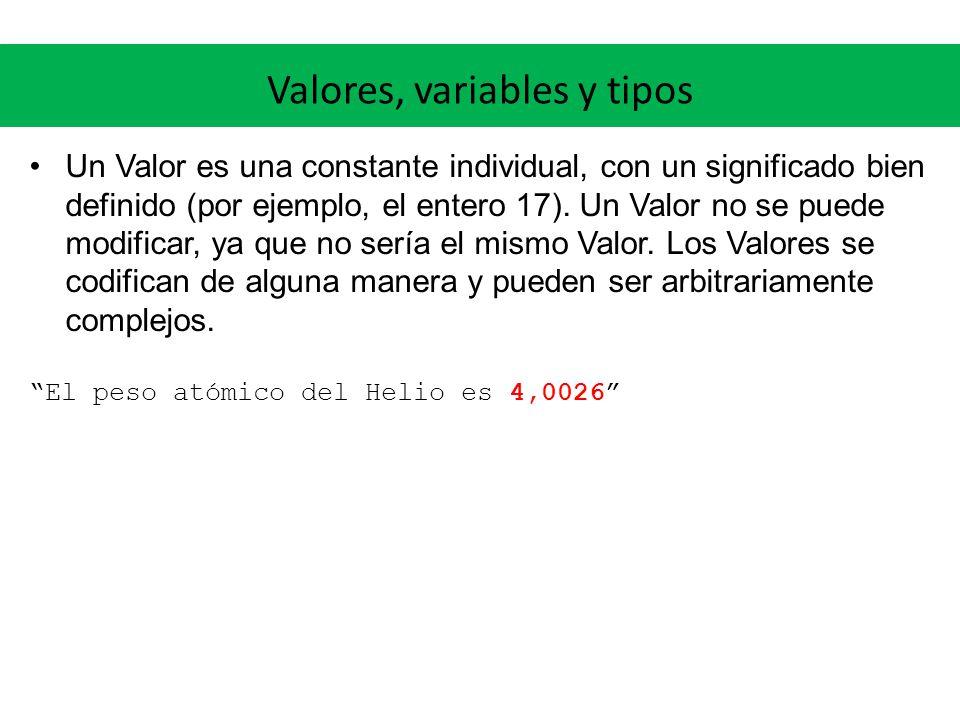 Valores, variables y tipos