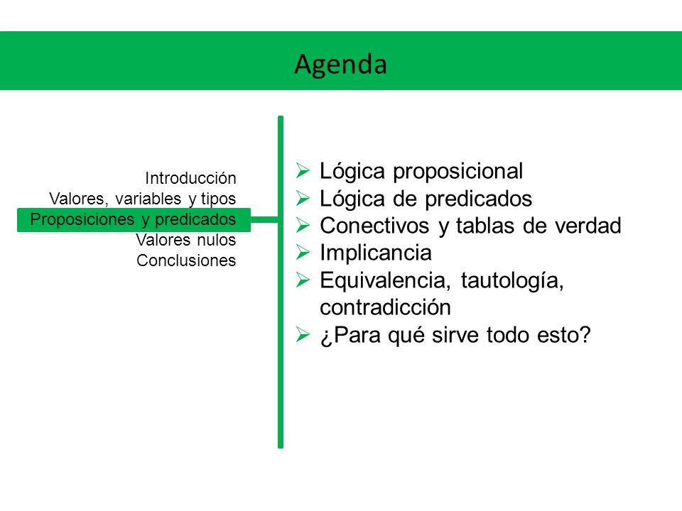 Agenda Lógica proposicional Lógica de predicados