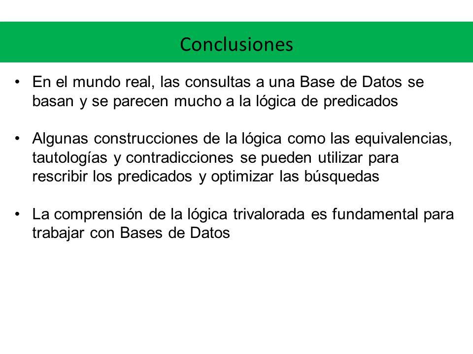 Conclusiones En el mundo real, las consultas a una Base de Datos se basan y se parecen mucho a la lógica de predicados.