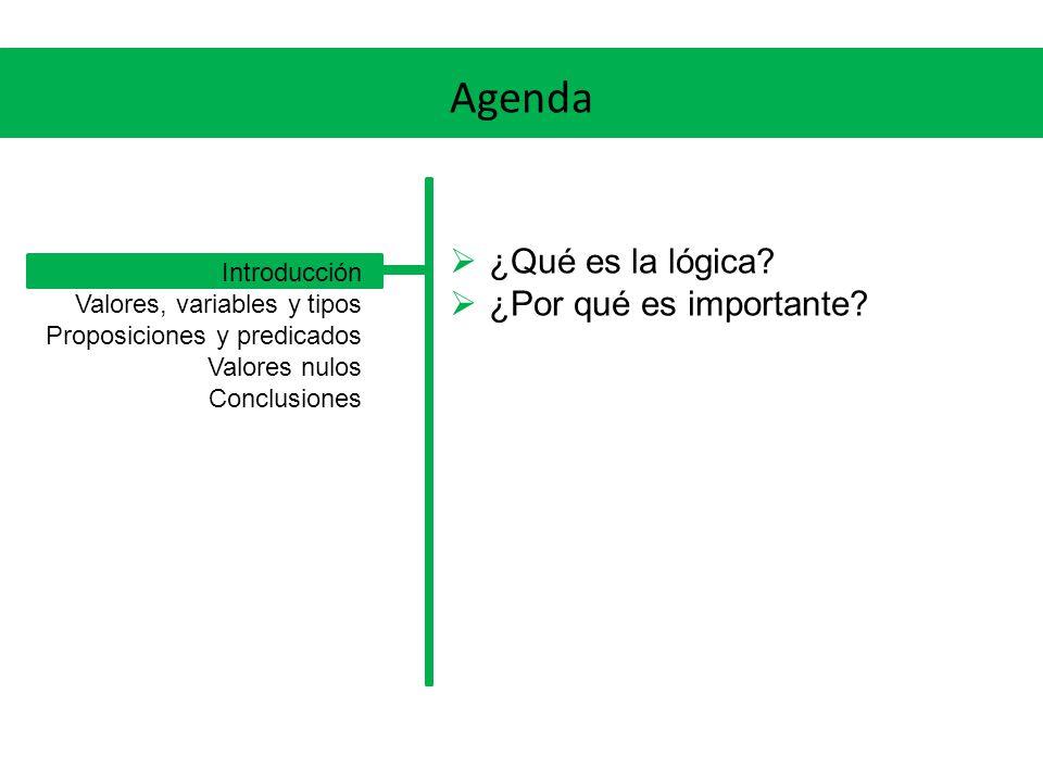 Agenda ¿Qué es la lógica ¿Por qué es importante Introducción
