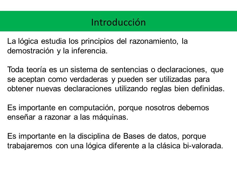 Introducción La lógica estudia los principios del razonamiento, la demostración y la inferencia.