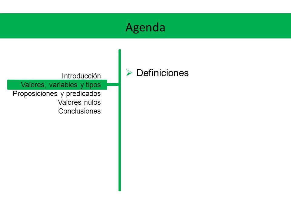 Agenda Definiciones Introducción Valores, variables y tipos