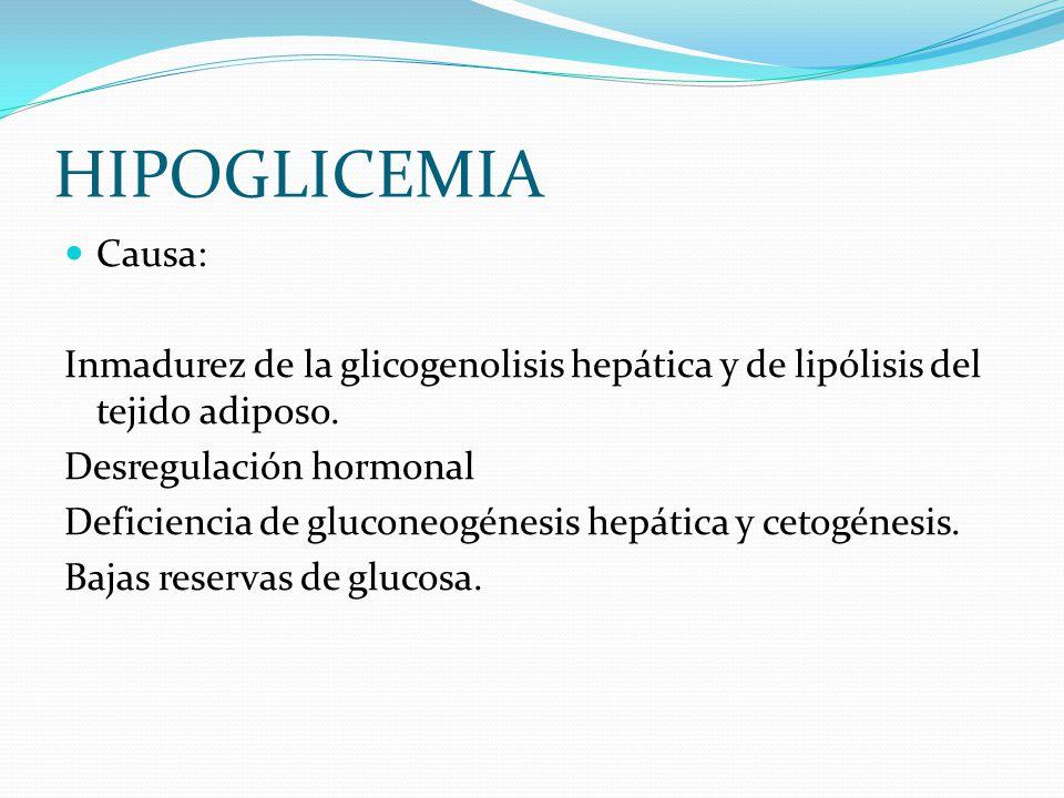 HIPOGLICEMIA Causa: Inmadurez de la glicogenolisis hepática y de lipólisis del tejido adiposo. Desregulación hormonal.