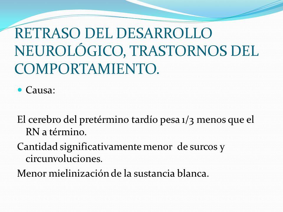 RETRASO DEL DESARROLLO NEUROLÓGICO, TRASTORNOS DEL COMPORTAMIENTO.