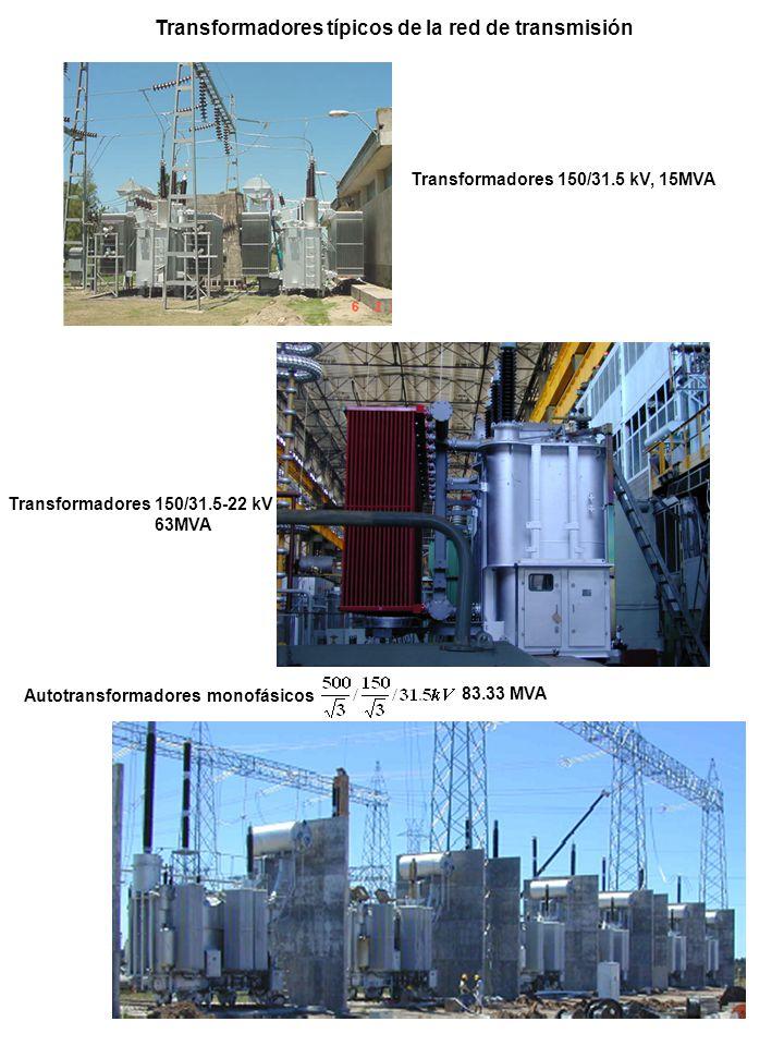 Transformadores típicos de la red de transmisión