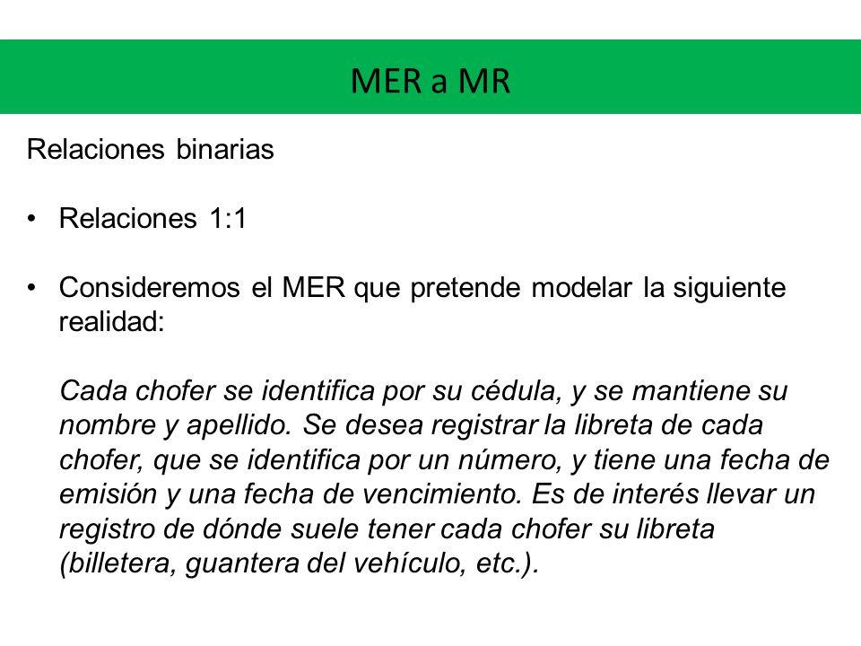 MER a MR Relaciones binarias Relaciones 1:1